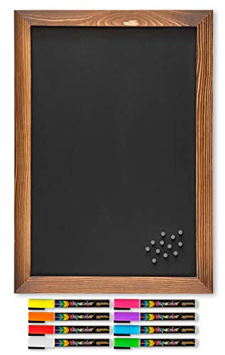 Rustic Magnetic Chalkboard with Torched Wooden Frame/Includes 8 Liquid Chalk Marker Pens and 12 Magnets / 12