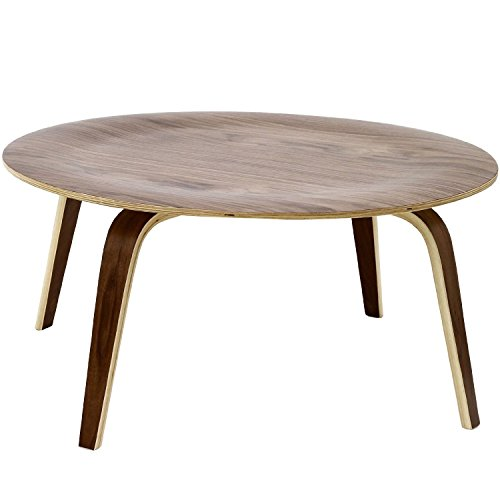 Nicer Furniture ™ Mid Century Modern Eames Style Round Molded Plywood Coffee Table in Walnut Finish (Walnut) For Sale