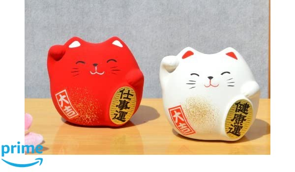 Gifts Of The Orient GOTO®® - Dos Maneki Neko Feng Shui Suerte Gato Gatos Rojo para La Prosperidad En Los Negocios Blanco para La Salud: Amazon.es: Hogar