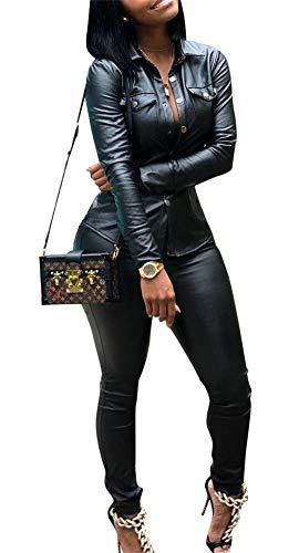(Yootiko Women Sexy 2 Piece Outfits Botton Long Sleeve Leather Jacket + Bodycon Pencil Pants Sweatsuits Tracksuits Black XXXL)