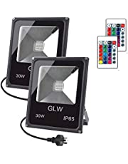 GLW LED RGB Flood Light Stage Lighting, 30W Outdoor Color Changing Lights with Remote Control, IP65 Waterproof Dimmable Wall Washer Light, Flood Lamp 16 Colors 4 Modes with AU 3-Plug(2 Pack)