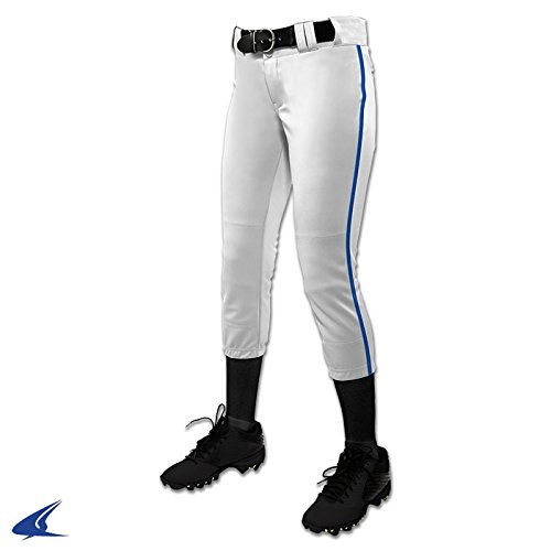 CHAMPRO Girl's (Youth) Tournament Fastpitch Pant with Piping White/Royal XL