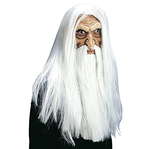 Adult's White Wizard's Mask With Wig, Beard & Moustache