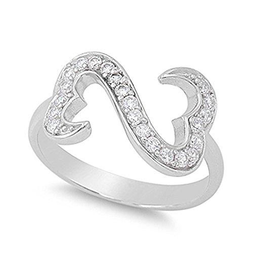 Heart Link Ring (Sterling Silver Open Double Heart Link Ring with Clear CZ - size9)