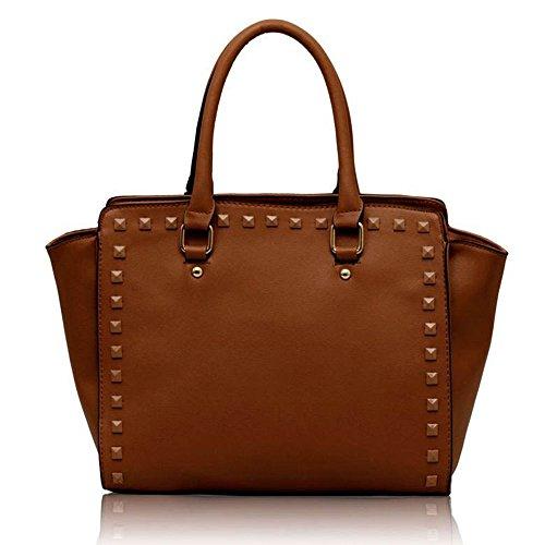 Traje de neopreno para mujer New para el hombro bolsa grande para mujer bolsos funda rígida con diseño de estampado de tamaño grande del famoso británico de piel sintética bolsa aislante para B - Brown
