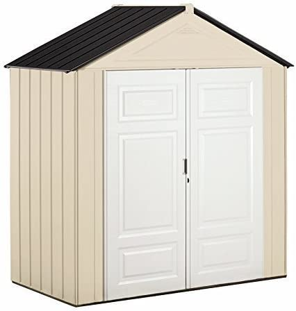 B00IGITN3I Rubbermaid Outdoor Shed, Plastic, 7x3 Feet, Maple/Sandstone (1862705) 413ChvtzJGL
