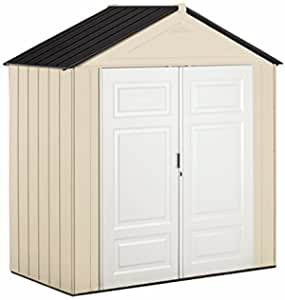 Rubbermaid Weather Resistant Outdoor Garden Storage Shed, 7x3 Feet, Sandstone