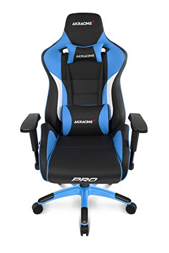 AKRacing Masters Series Pro Luxury XL Gaming Chair with High Backrest, Recliner, Swivel, Tilt, 4D Armrests, Rocker & Seat Height Adjustment Mechanisms, 5/10 Warranty - Blue AKRacing