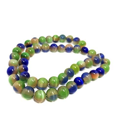 THETASTEJEWELRY 4mm Round Rainbow Cat Eye Beads Loose Beads 15