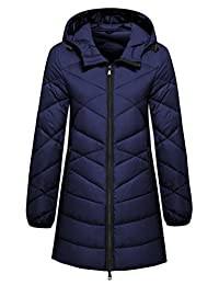Wantdo Women's Hooded Packable Ultra Light Weight Mid-Length Down Jacket