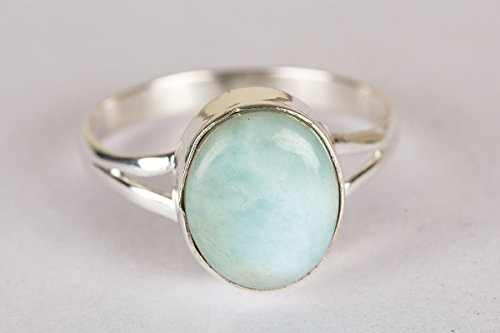 Larimar Ring, 925 Sterling Silver, Charm Ring, Designer Silver Ring, Hippie Ring, Vintage Ring, Genuine Jewelry, Indian Style, Awesome Ring, Girl Ring, Bezel Ring, Her, US Ring Size 3-15 (Standard) - Girl Bezel
