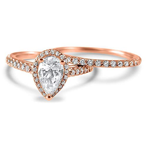 Pear shape halo Diamond and Moissanite engagement ring set Wedding Set 14k Rose Gold engagement ring and wedding band