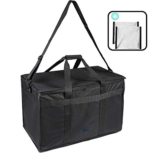 mligril Premium Insulated Food Delivery Bag for Cold and Hot Food - Bonus 2 Dividers and Shoulder Strap - Waterproof Restaurant Commercial Food Warmer Bag 23