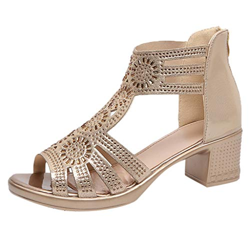 - Women's Retro Sandals, Ladies Fashion Rough with Open Toe Fish Mouth Sandals Wild Heel Shoes Wear-Resisting Shose❤️ Sumeimiya Gold