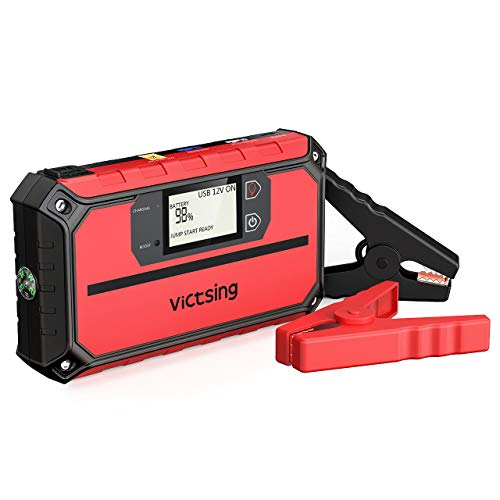 VicTsing 1000A Peak 20800mAh Portable Car Jump Starter (Up to 8.0L Gas, 6.0L Diesel Engine), 12V Auto Battery Booster,5 in 1 Compact Power Pack with QC3.0 Output, Built-in Compass and LED Light