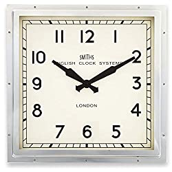 Lascelles London Smiths Square Wall Clock in Chrome - 41cm