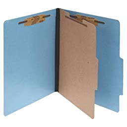 ACCO 15642 ACCO Presstex Colorlife Classification Folders, Letter, 4-Section, Lt BE, 10/Box