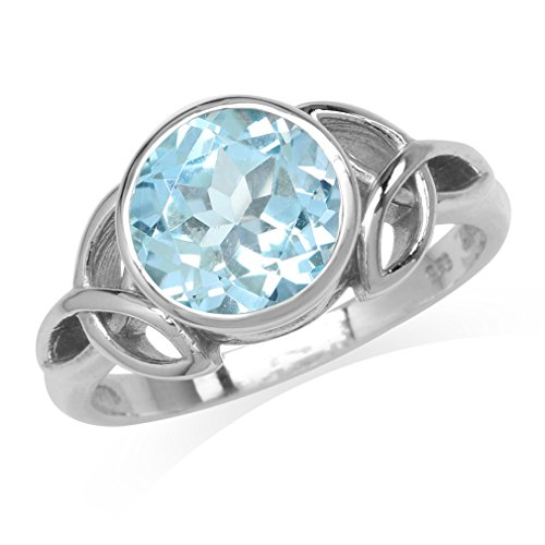 (3.21ct. 9MM Genuine Round Shape Blue Topaz 925 Sterling Silver Triquetra Celtic Knot Ring Size 12)