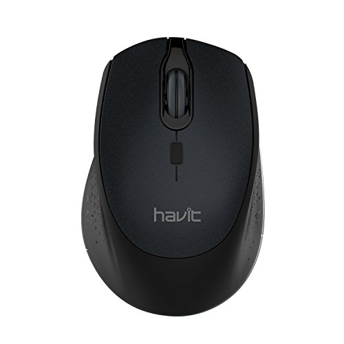 Havit 2.4G Wireless Mouse 2000DPI Optical Mini Portable Mobile with USB Receiver, 3 Adjustable DPI Levels, 4 Buttons for Notebook, PC, Laptop, Computer, MacBook (Black)