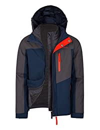 Mountain Warehouse Compass Youth 3 in 1 Jacket - Waterproof, Taped Seams with Padded Detachable Inner Jacket, Detachable Hood, Adjustable Cuffs & Zipped Security Pockets Grey 13 years