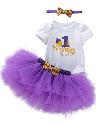 3Pcs Outfit Set Baby Girls One Year Old Birthday Lace Tutu Bodysuit Skirt with Headband (Purple, 6-12 Months)