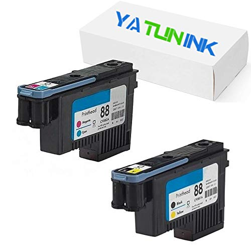 - YATUNINK Remanufactured Printhead Replacement for HP 88 Printhead BK/Y (C9381A) C/M (C9382A) 2 Pack