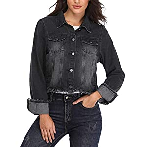 MISS MOLY Retro Denim Jackets for Women Long Sleeve Button up Frayed Stretch Jean Washed Crop Coat Outwear