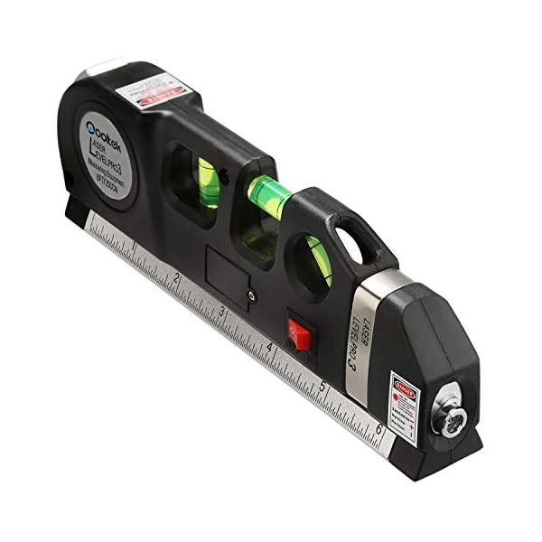 Qooltek Multipurpose Laser Level Laser Line 8 feet Measure Tape Ruler Adjusted Standard and Metric Rulers