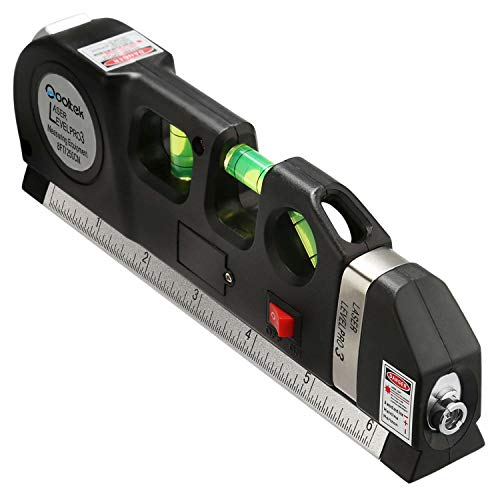 Qooltek Multipurpose Laser Level Laser Line 8 feet Measure Tape Ruler Adjusted Standard and Metric ()