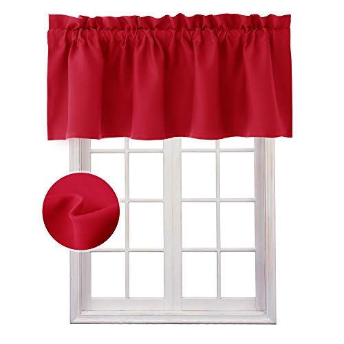 Homedocr Red Valance Curtains for Kitchen Blackout Thermal Insulated Rod Pocket Window Valances, 60 x 18 Inches Length, 1 Panel (Valance Solid Window Red)