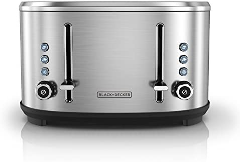BLACK+DECKER 4-Slice Extra-Wide Slot Toaster, Stainless Steel, TR4300SSD