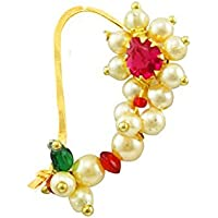 Vail Creations Traditional Maharashtrian Nath Multicolour Gold Plated With Piercing Nose Ring Pin for Women Size- 3 cm
