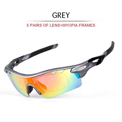 Polarized Cycling Glasses 5 Lens Bike Glasses Outdoor Sport Eyewear Unisex Running Driving Bicycle Sunglasses,Ig916 Grey