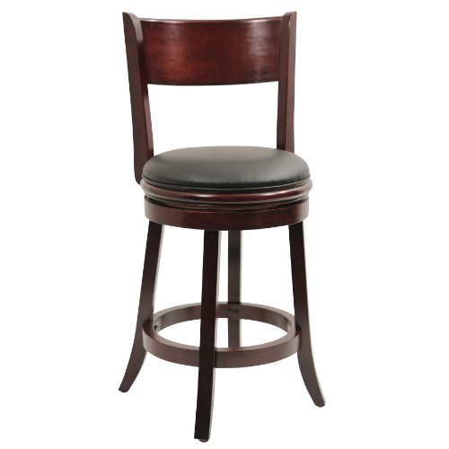 Dark Cherry Counter - Boraam 44124 Palmetto Counter Height Swivel Stool, 24-Inch, English Tudor