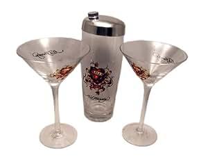 "Ed Hardy ""Love Kills Slowly"" Martini Shaker & 2 Glasses"
