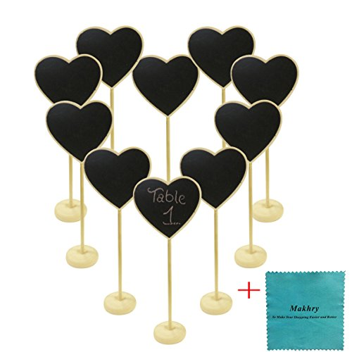 Makhry 10pcs Wedding Party Favor Mini Heart-Shape Chalkboard with Stand For Table (Hearts Table Sign)