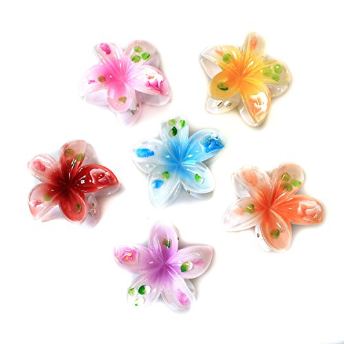 - Hawaii Luau Party Dance Performance Plastic Hand Painted Pastel Plumeria Flower hair claw clips in White 5 Color Pack