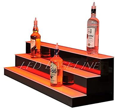 3 Step Lighted Liquor Bottle Display Shelf with LED Color Changing Lights