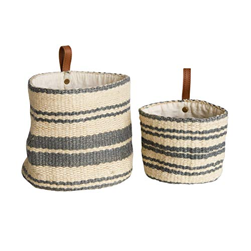 Creative Co-op DA8007-1 Cream & Blue Striped Jute Wall Baskets with Leather Loops (Set of 2 Sizes)
