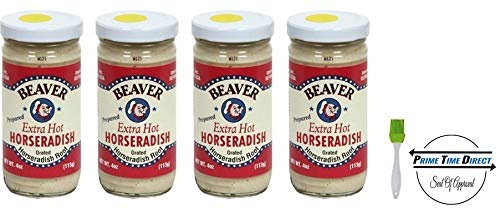 Beaver Horseradish Extra Hot 4 oz (4 pack) With Silicone Basting Brush in a Prime Time Direct Sealed Box (Horseradish Pure)