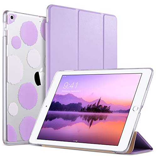 ULAK iPad 2017/2018 iPad 9.7 inch Case, Slim Lightweight Smart Case Trifold Stand with Auto Sleep/Wake Function,Hard Back Clear Polka Dot Cover for Apple iPad 9.7-inch 5th 6th Gen, - For Ipad Cases Girls