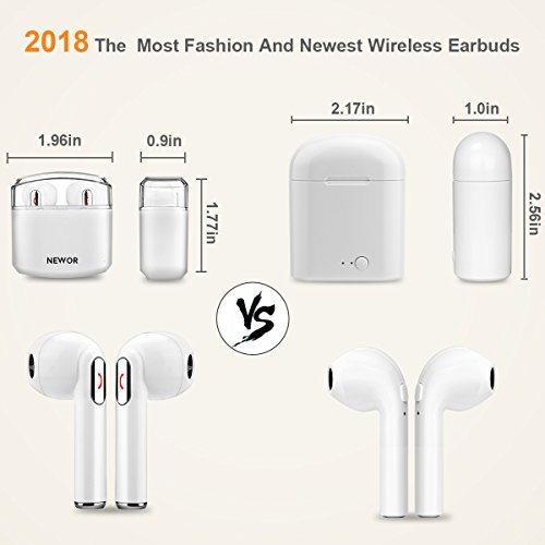 Wireless Earbuds Bluetooth Headphones Stereo Bluetooth Earbud Wireless Earphones Mini In-Ear Headphones Sweatproof Sport Earbud Noise Cancel Mic Charging Case (White) by Newor (Image #5)