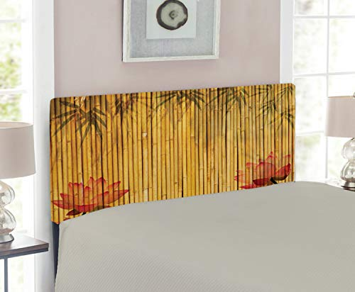 Lunarable Bamboo Headboard for Twin Size Bed, Chinese Bamboo Stems and Flower Silhouettes and Shadow Eastern Tropical Exotic Image, Upholstered Decorative Metal Headboard with Memory Foam, Mustard