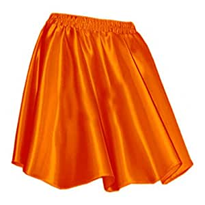 TMT03-OR ORANGE Women Lady Satin Pleated Retro High Waist Shiny Mini Skirt Club (S)
