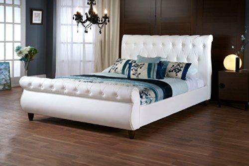 Baxton Studio CF8201B-QUEEN-WHITE Ashenhurst Button Tufted Modern Sleigh Bed with Upholstered Headboard, Queen, White