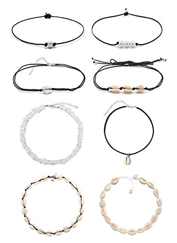 DB DUOBAO Shell Pearl Choker Necklace for Women Hawaiian Seashell Pearls Choker Necklace Adjustable Cord Necklace Set (8PACK Set)