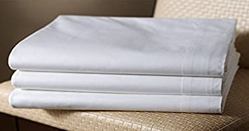 3 full xl size white flat bed sheets 81x115 atlas brand 180 thread count - Full Xl Sheets