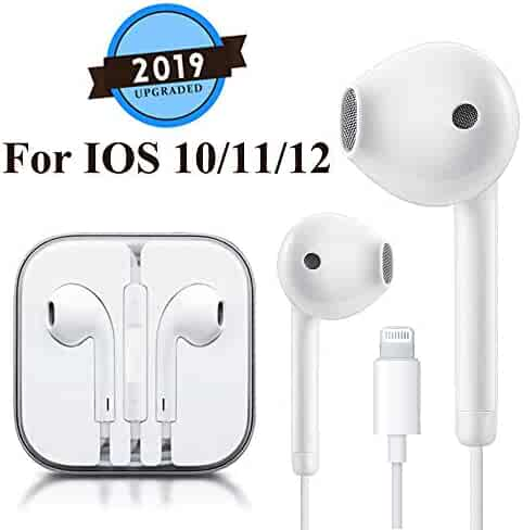 Lighting Earbuds Headphone Wired Earphones Headset with Microphone and Volume Control, Compatible with iPhone 11 Pro Max Xs Max/XR/X/7/8 Plus Plug and Play Cell Phone Minutes