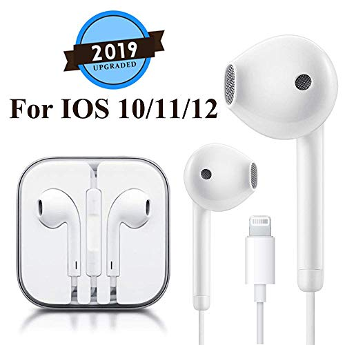 Lighting Earbuds Headphone Wired Earphones Headset with Microphone and Volume Control, Compatible with iPhone 11 Pro Max Xs Max/XR/X/7/8 Plus Plug and Play Cable Security Devices (White)