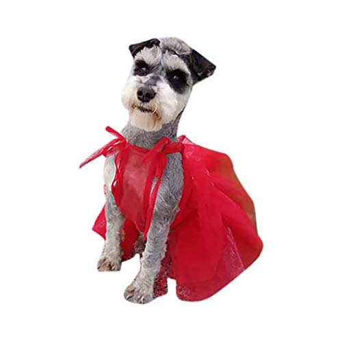 Pet Dog Cat Dress Lace Patchwork Strappy Formal Princess Tutu Dress Puppy Clothes Apparel (XL, Red) -
